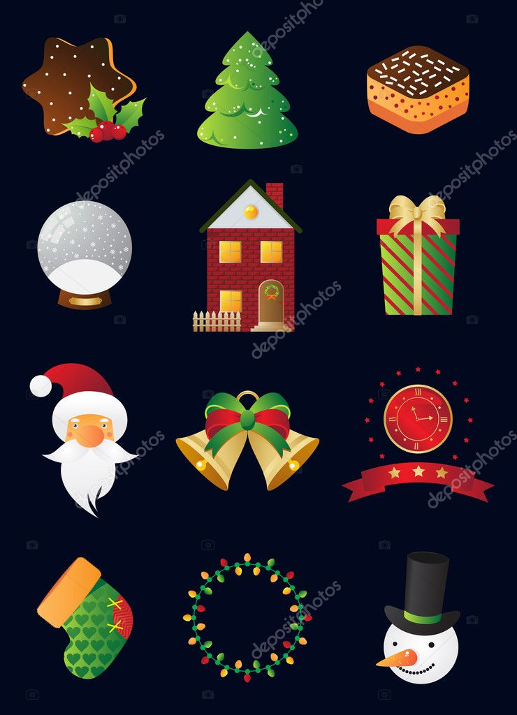 Christmas and New Year icon set  Stock Vector #2973432