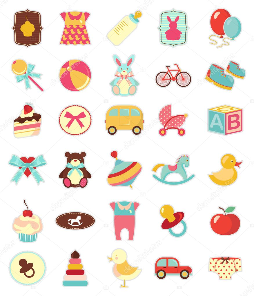 Set of beautiful baby icons  — Stockvectorbeeld #3466020