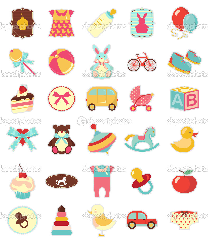 Set of beautiful baby icons   Imagens vectoriais em stock #3466020