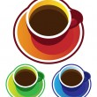 Colorful vectors: coffee cups top view — Stock Vector