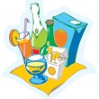 Stock Vector: Still life with drinks