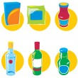 Stock Vector: Set of icons with food and drinks