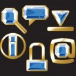Gem icons with sapphire and gold — Stock Vector