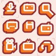 Stock Vector: Grid icons for media