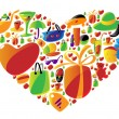 Ladies shopping icons in heart shape - Stock Vector