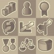 Stock Vector: Monochrome business icons