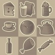 Monochrome food icons - Stock Vector