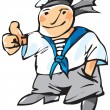 Cheerful seaman - Stock Vector