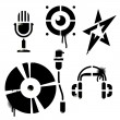 Stencil music icons — Stockvectorbeeld