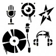 Stock Vector: Stencil music icons