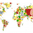 Stock Vector: World map with food and drinks