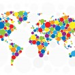 World map of colorful bubbles — Stockvektor