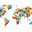 World map of colorful bubbles — Vector de stock