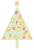 Christmas tree with gifts made of icons — Stock Vector