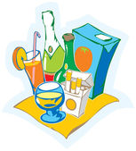 Still life with drinks — Stock Vector