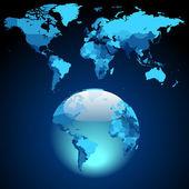 Globe on dark blue World map — Stock Vector
