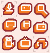 Grid icons for media — Stock Vector