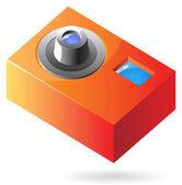Isometrica icona della macchina fotografica compatta — Vettoriale Stock