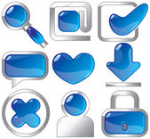 Metallic and blue icons — Stock Vector