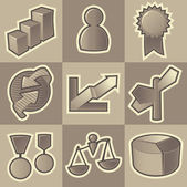 Monochrome business icons — Stock Vector