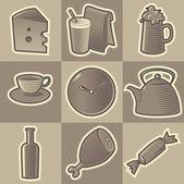 Iconos de alimentos monocromo — Vector de stock