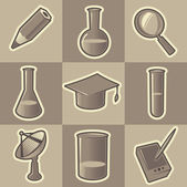 Monochrome science icons — Stock Vector