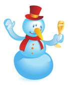 Snowman with wineglass — Stock Vector