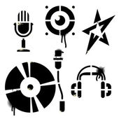 Stencil music icons — Stock Vector