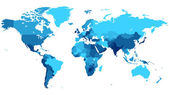 Blue World map with countries — Vettoriale Stock