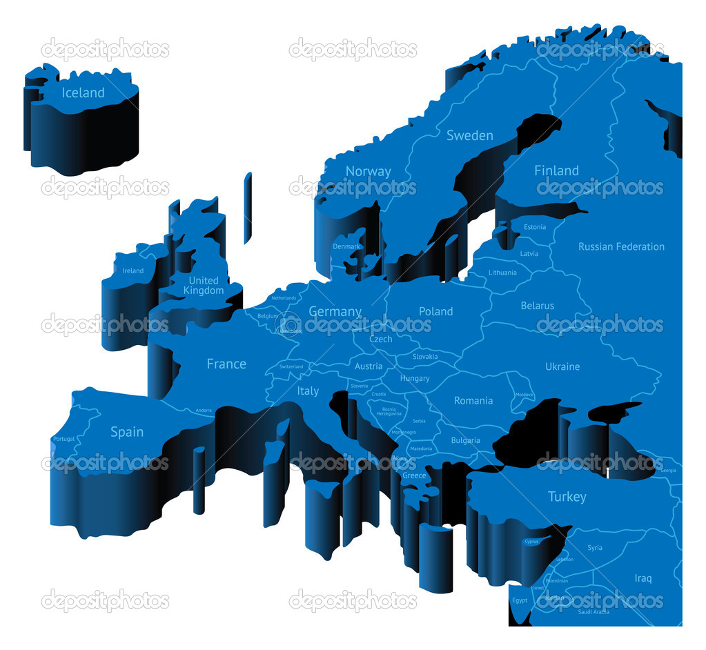 Map of Europe with national borders and country names. Pseudo-3d vector illustration. — Stock Vector #2744037