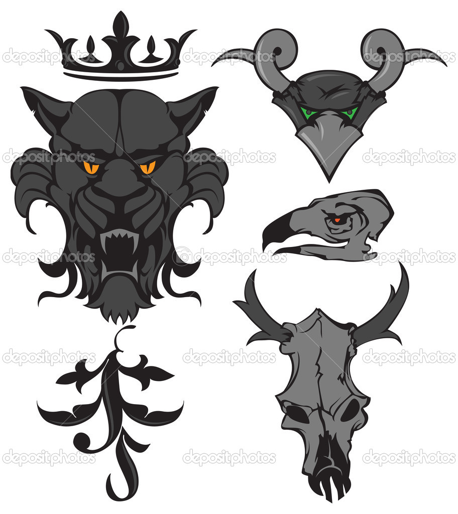 动物的头和头骨与冠和装饰品