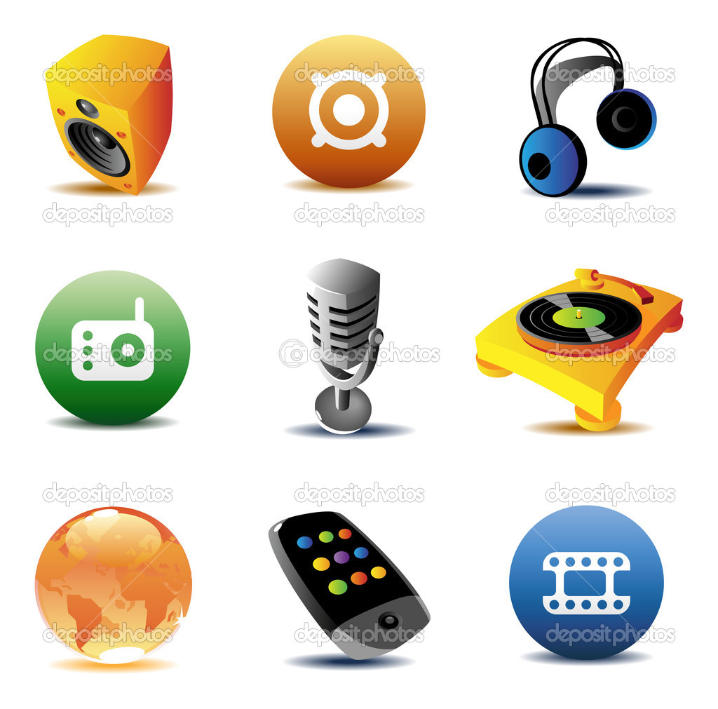 Icons for music and entertainment. Vector illustration. — Stock Vector #2744058