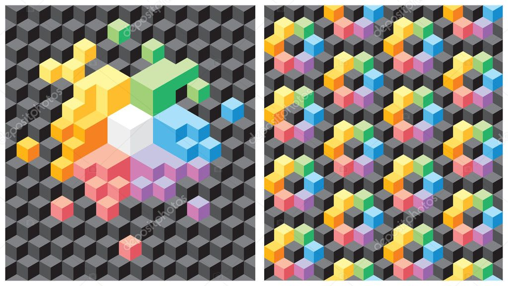 Two backgrounds with pseudo-3d black and multicolored cubes. Seamless vector pattern.  Stock Vector #2744063