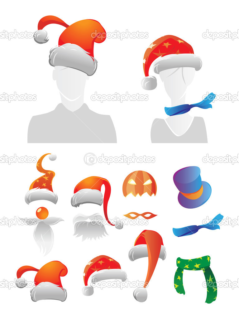 Holiday decorations for your avatar. Vector illustration. — Stock Vector #2744098