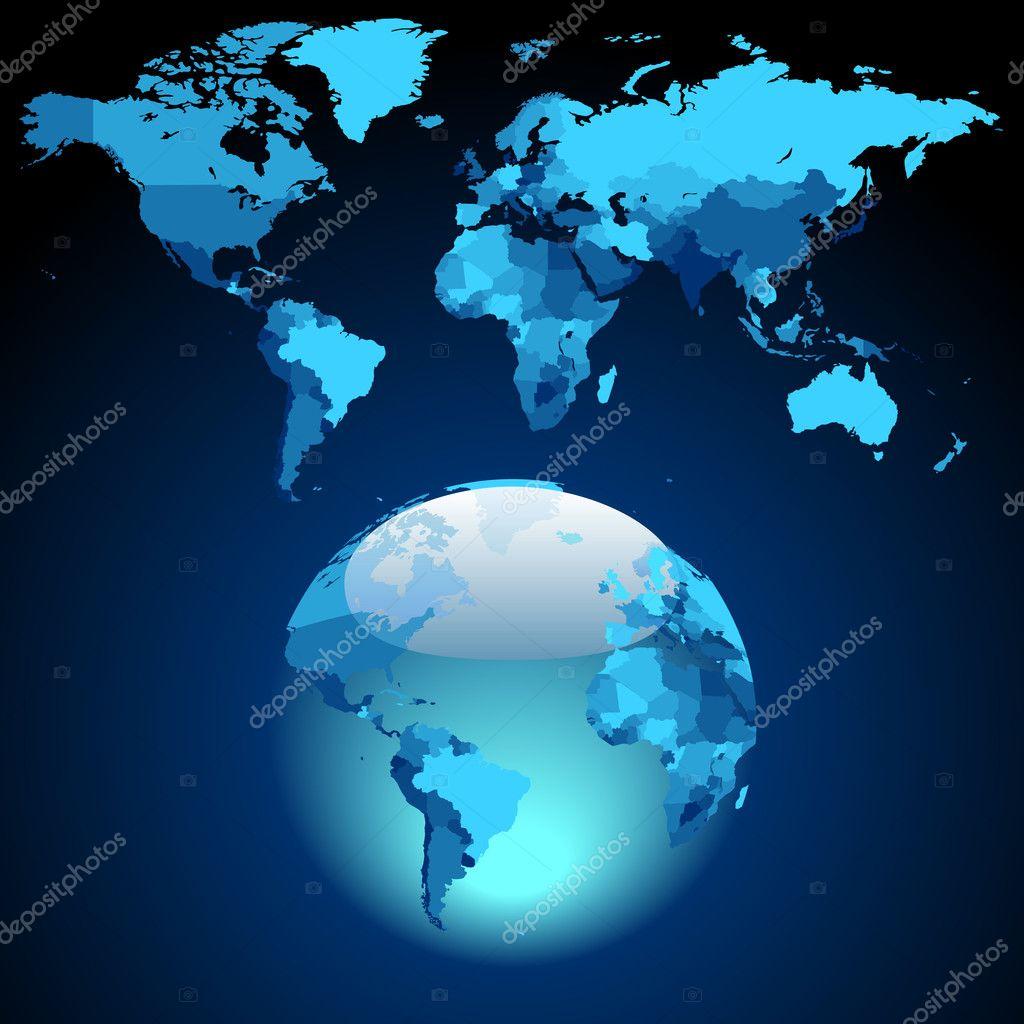 在黑暗的蓝色世界地图上的地球.矢量插画– 图库插图
