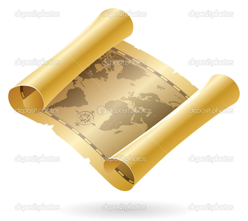 Old scroll of world map. Vector illustration. — Stock Vector #2744323