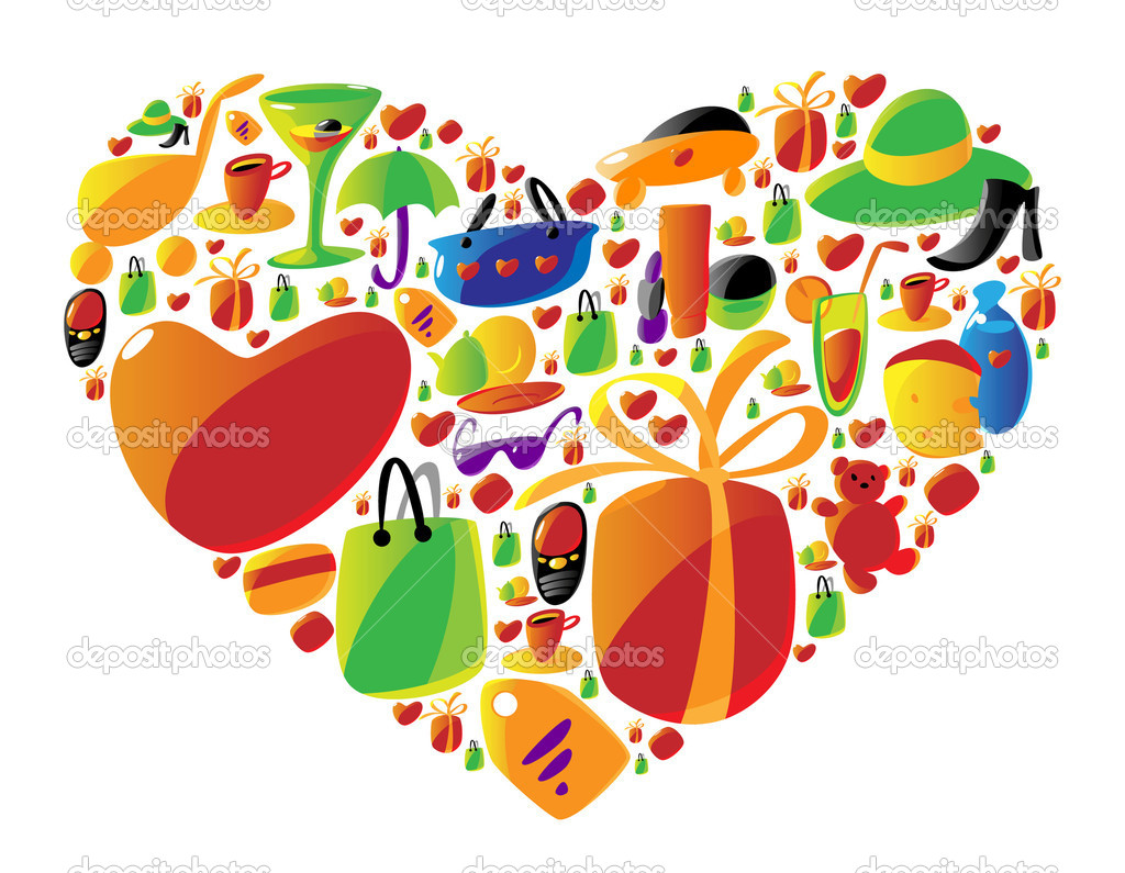 Ladies shopping icons arranged in heart shape. Vector illustration. — Stock Vector #2744328