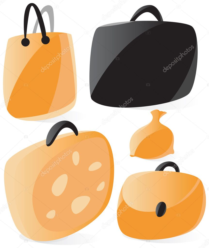 Set of smooth and glossy bags icons. Vector illustration.  — Stock Vector #2744509