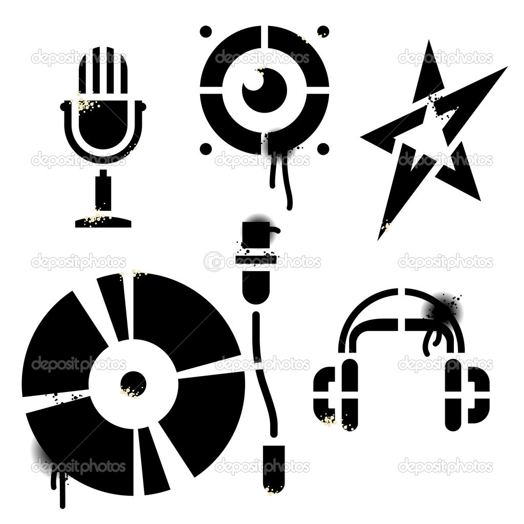 Vector stencil music icons. Contains no traced images. All elements are drawn by hand. Icons, drops, splats and blends are in separate layers.  Stok Vektr #2744561