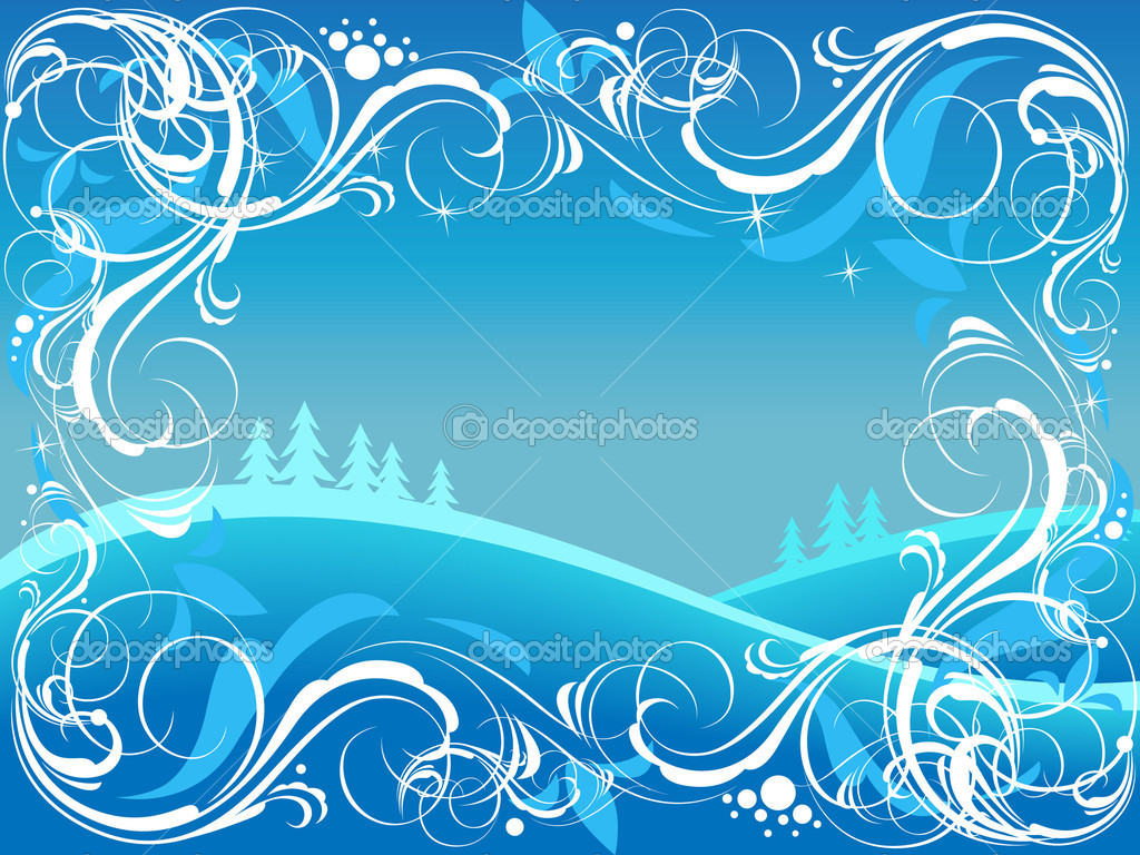 Background with ornate border and winter landscape. Vector illustration. — Stock Vector #2744600
