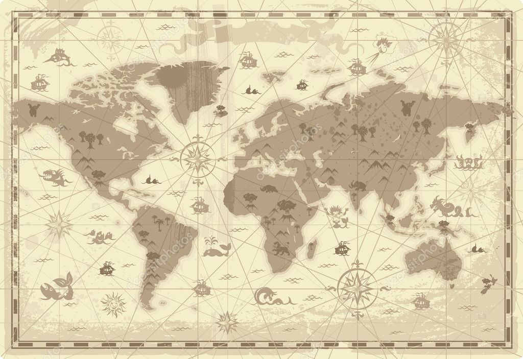 Retro-styled map of the World with mountains and fantasy monsters. Colored in sepia. Vector illustration. — Grafika wektorowa #2744616