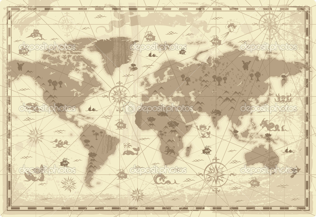 Retro-styled map of the World with mountains and fantasy monsters. Colored in sepia. Vector illustration.  Stockvectorbeeld #2744616
