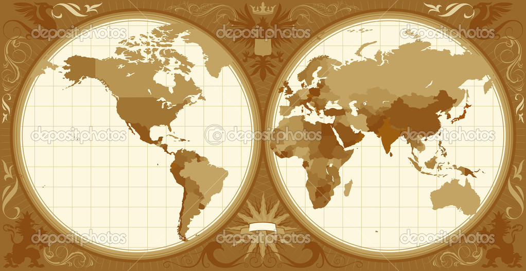 World map with retro-styled hemispheres, ornaments and insignia elements. Vector illustration. — Stock Vector #2744628