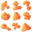 Commercial orange acrylic icons — Stock Vector