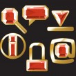 Gem icons with ruby — Stock Vector