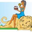 Girl with lion and cake. — Stock Vector