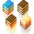 Isometric icons of stacked books — Stock Vector