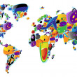 Royalty-Free Stock Imagem Vetorial: World map of colorful icons
