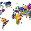 World map of colorful icons - Stock Vector