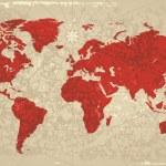 Retro map of the World — Stock Vector
